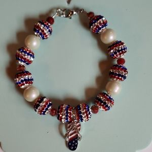 Red white blue flip flop  bracelet